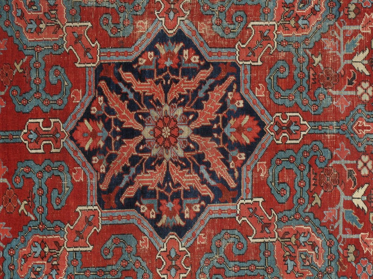 Bakshaish Antique Bakhshaish Carpet, Handmade Oriental Rug, Rust, Ivory, Navy, Light Blue For Sale