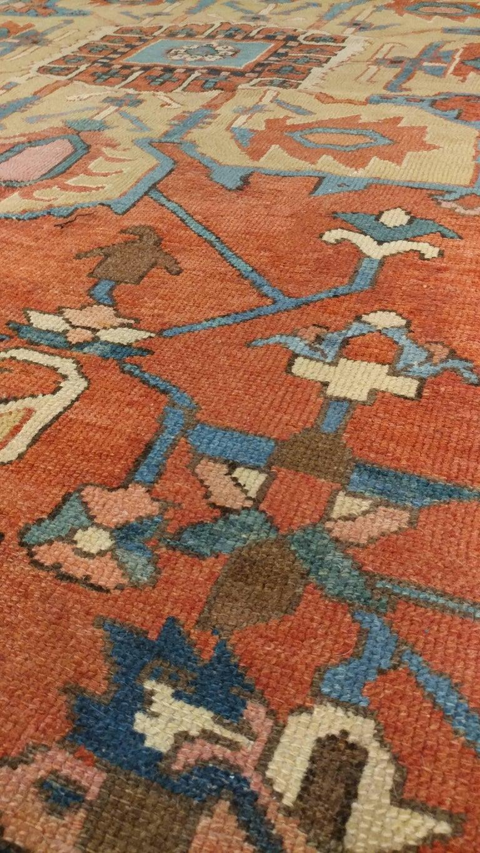 Antique Persian Handmade Wool Oriental Serapi Carpet Rust
