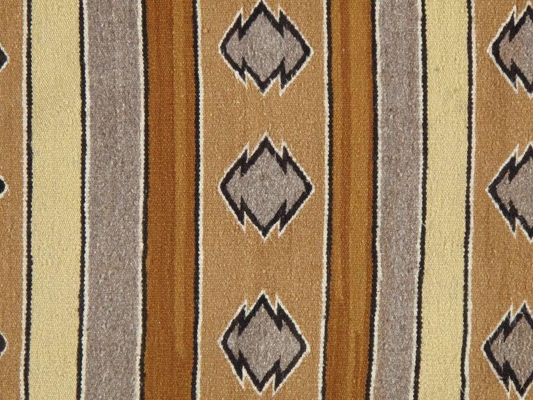 Hand-Knotted Vintage Navajo Carpet, Folk Rug, Handmade Wool, Beige, Caramel, Tan For Sale