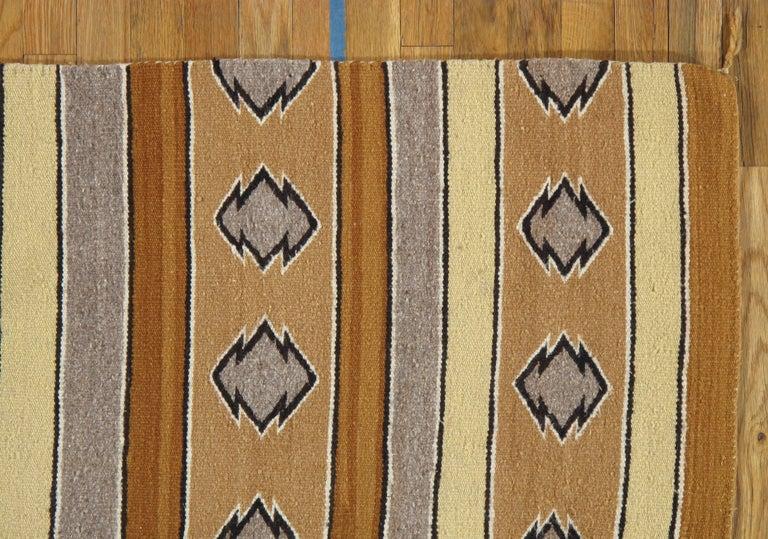 American Vintage Navajo Carpet, Folk Rug, Handmade Wool, Beige, Caramel, Tan For Sale