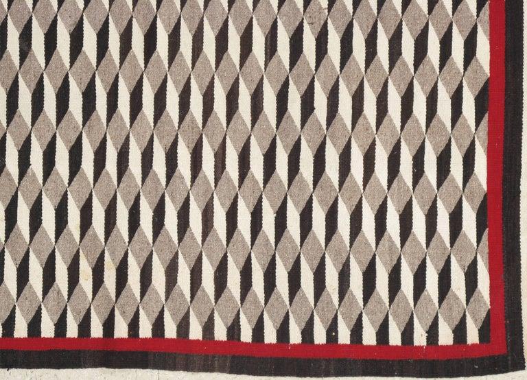 Vintage Navajo Carpet, Folk Rug, Handmade Wool, Beige, Red, Tan 6