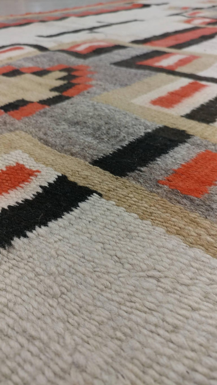 Antique Navajo Carpet Folk Rug Handmade Wool Beige
