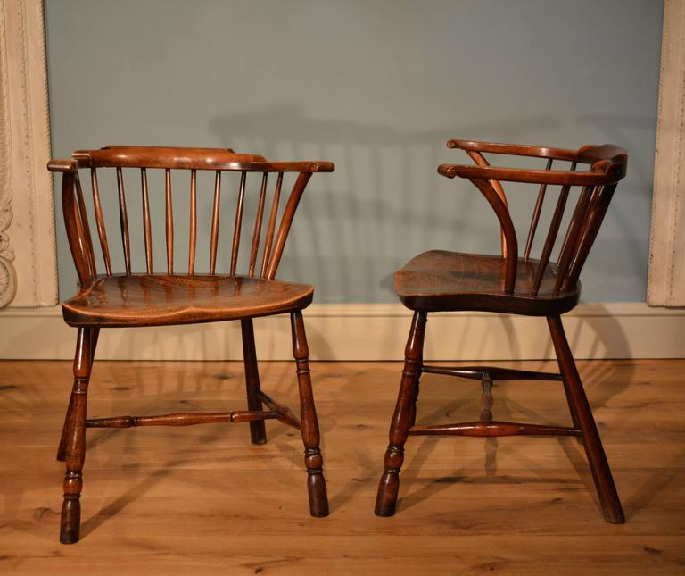 rare 18th century pair of low back yew wood library chairs at 1stdibs