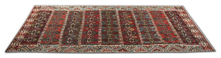 Turkish Kilim Rugs, Antique Runner Rug, Striped Rug Stair Runner