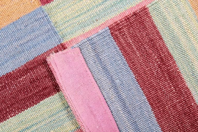 Hand-Crafted Striped Rug, Afghan Kilim Rugs, Modern Striped Kilim Rugs, For Sale