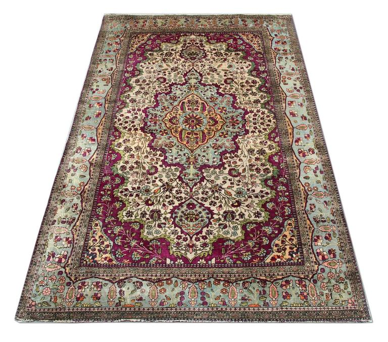Royal Border Oriental Rug By Rug Culture: Antique Pure Silk Mohtasham Kashan For Sale At 1stdibs