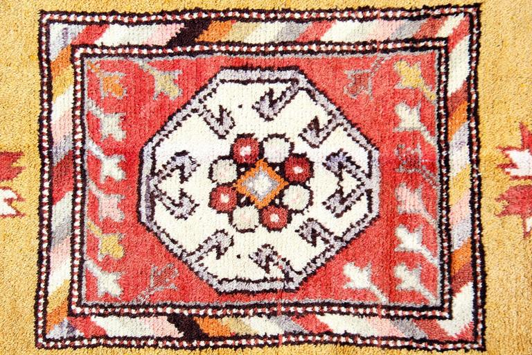 Other Antique Rugs, Turkish Rug with Yellow Rug Background from Milas  For Sale