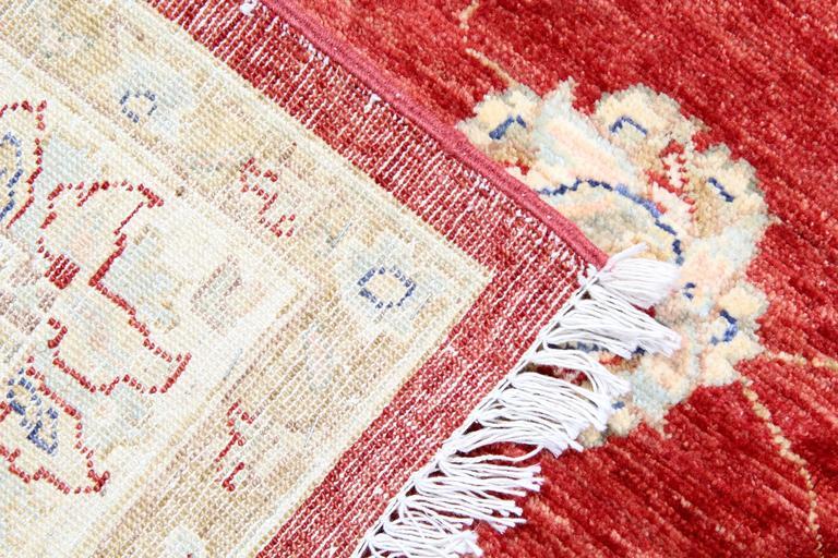 Vegetable Dyed Red Afghan Oriental Rugs Floral Wool Rugs, Suitable as living room rugs For Sale