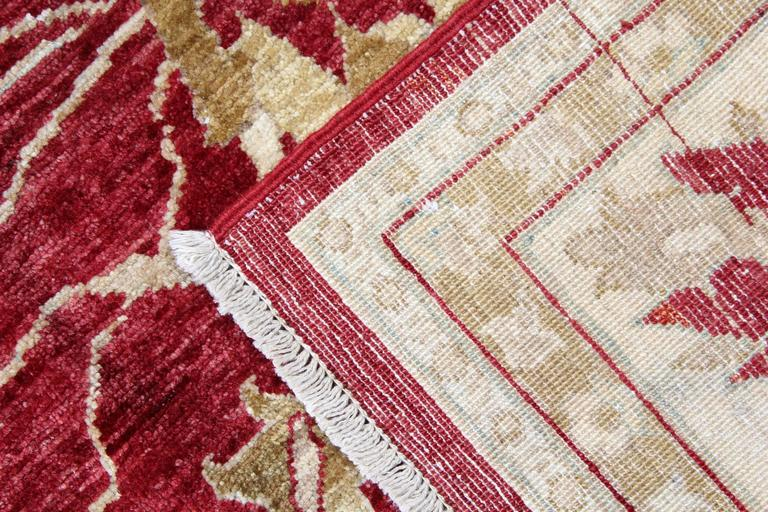 Vegetable Dyed Red Rug, Oriental Rugs, Traditional Carpet Ziegler Mahal Style from Afghanistan For Sale