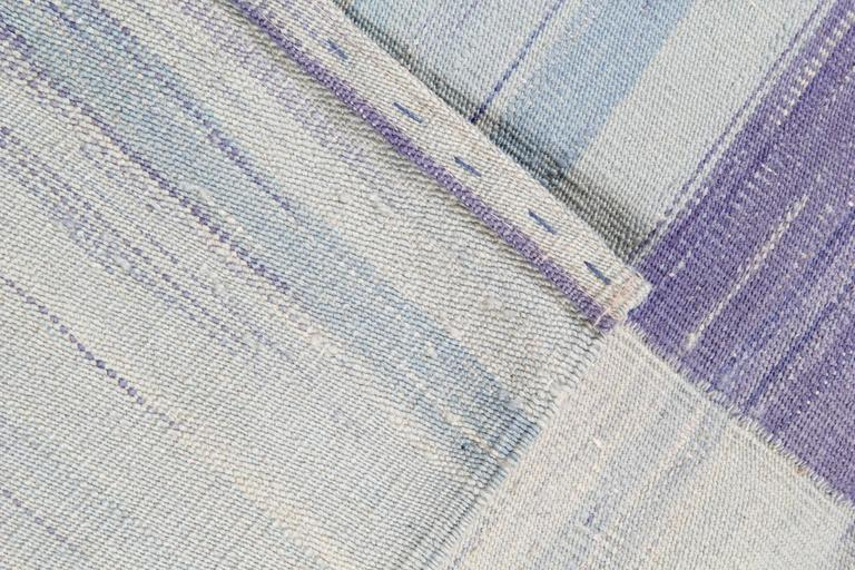 Hand-Woven Purple Kilim rugs, Carpet from Afghanistan, Modern Striped Kilim Rugs, For Sale