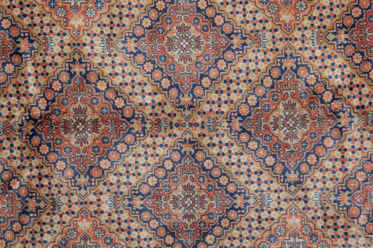 Anglo-Indian Persian Style Rugs with Traditional Design, Brown Rug Antique Carpet from India  For Sale