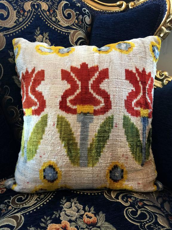 Handmade Vintage Throw Pillows : Decorative Antique Vintage Handmade Turkish Velvet Pillow Cover For Sale at 1stdibs