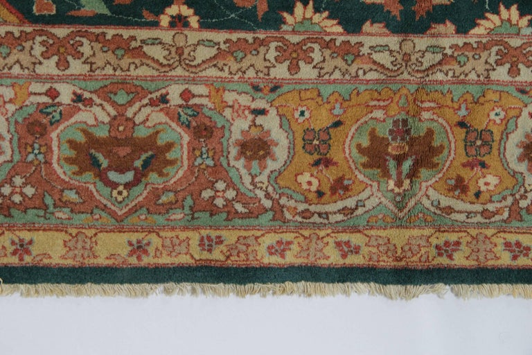 Antique Carpet, Agra Carpet Antique Rug Green Indian Rugs In Good Condition In Hampshire, SO51 8BY