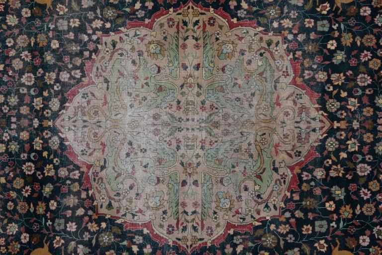 Late 19th Century Antique Carpet, Agra Carpet Antique Rug Green Indian Rugs