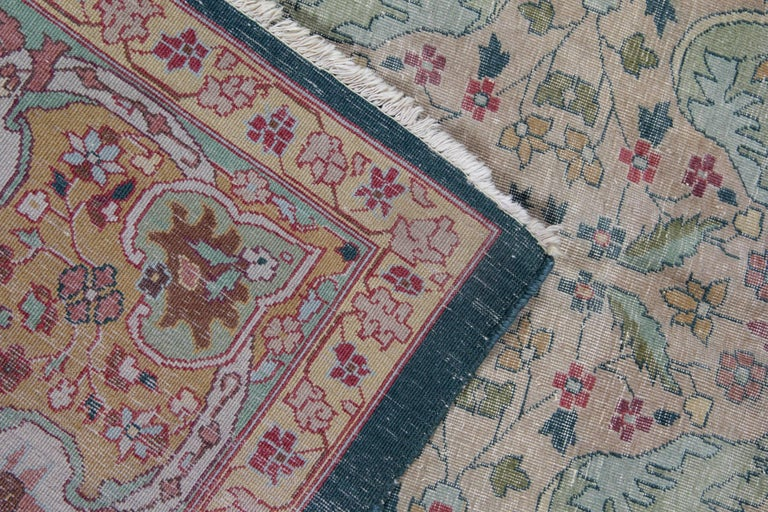 Wool Antique Carpet, Agra Carpet Antique Rug Green Indian Rugs