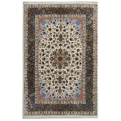 Floral Elegant Silk Rugs, Grey Indian Rugs with Nain Rug Design