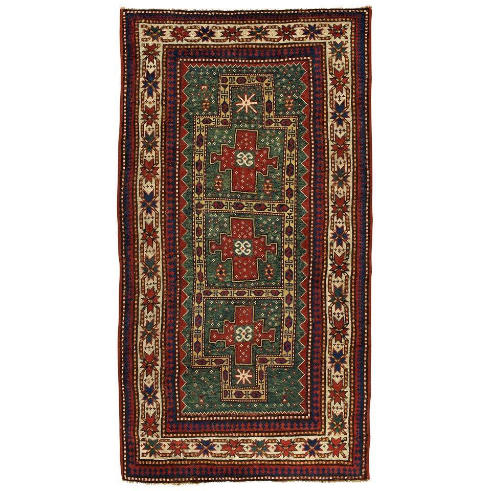 Antique Rugs Handmade Carpet Green Oriental Rug Caucasian Kazak Rug for Sale
