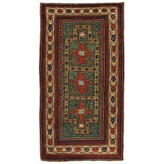 Antique Rugs Oriental Caucasian Kazak Rug, Green Rug from Kazak