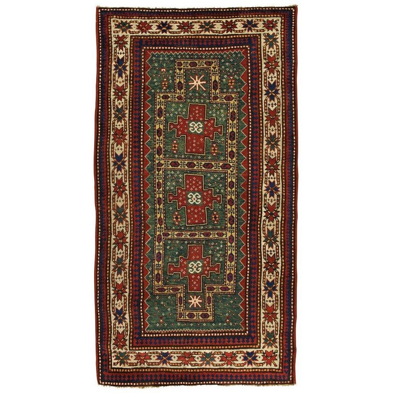 Antique Rugs, Caucasian Kazak Rug, Green Rug from Kazak