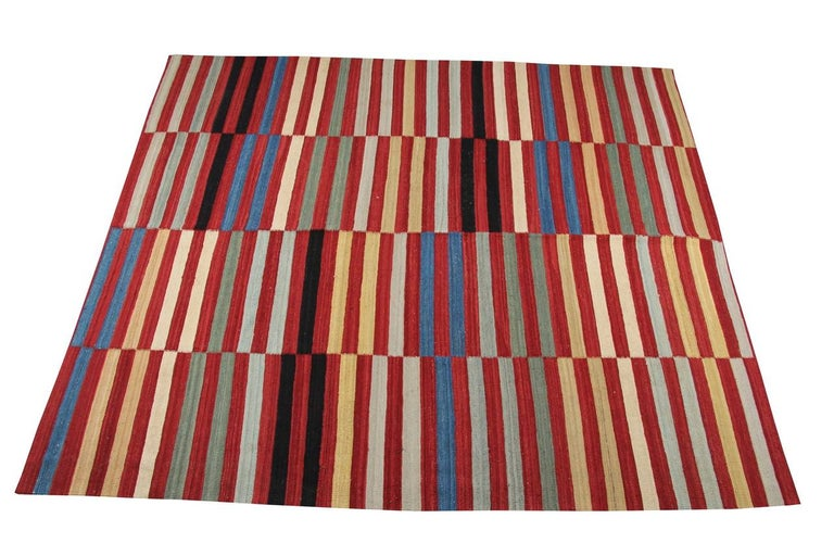 Vegetable Dyed Kilim Rugs, Modern Rugs from Afghanistan, Modern Striped Kilim Rugs For Sale