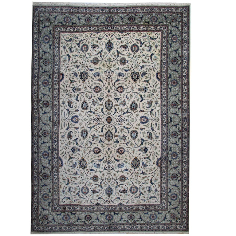 Ivory Wool And Silk Persian Naein Area Rug For Sale At 1stdibs: Grey Persian Rug