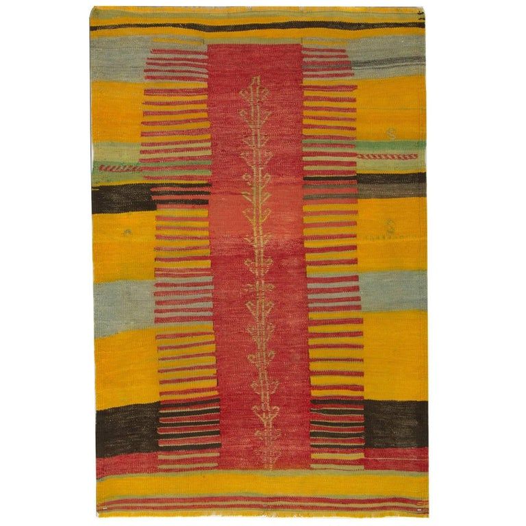 Antique Rugs, Kilim Rugs from Turkey, Yellow Turkish Rug