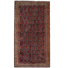 Antique Persian Rugs, Red Rug Qashqai Floor Carpet Rug