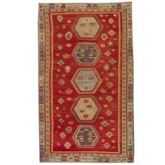Antique Rugs Oriental Turkish Kilim Rug Red Sarkisla Carpet Rug from Anatolia