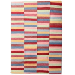 Striped Rug, Afghan Kilim Rugs, Modern Striped Kilim Rugs Colourful Carpet
