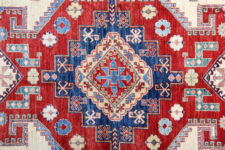 Hand-Crafted Cream Handmade Kazak Rugs, Persian Style Rugs, Carpet from Afghanistan For Sale
