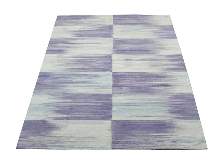 Contemporary Purple Kilim rugs, Carpet from Afghanistan, Modern Striped Kilim Rugs, For Sale