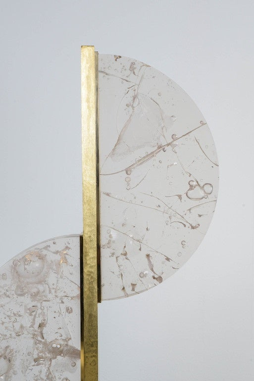 One brass and half-circles fractal resin lamp, created by Gallery Glustin (four pieces).