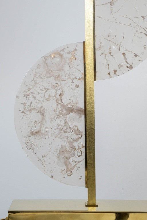 Modern Original Resin and Brass Lamp For Sale