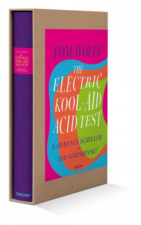 """Hardcover in a slipcase, letterpress-printed text, two different paper stocks, and tip-ins, 9.4 x 13.4 in., 356 pages.  In 1964, famed writer Ken Kesey and his band of Merry Pranksters set off across America on a """"Transcontinental Bus Tour,"""""""