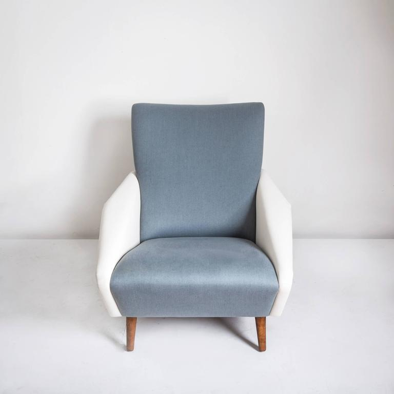 Model no. 807 Distex lounge chair by Gio Ponti, Italy circa 1960, manufactured by Cassina, original distributor's inventory labels to underside, with