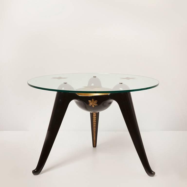 Carved Coffee Table by Osvaldo Borsani For Sale