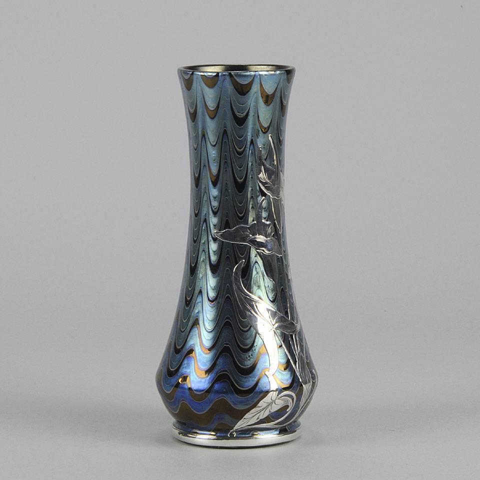 Iridescent silvered feather vase by johann loetz at stdibs