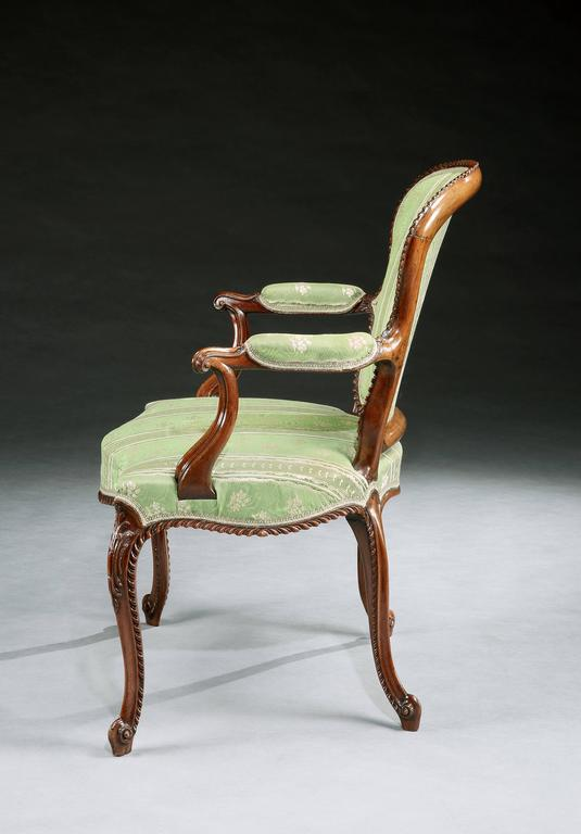 English Magnificent Set of Four George III Mahogany Armchairs For Sale
