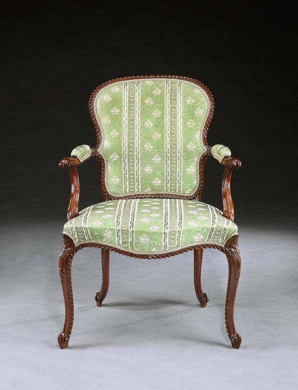 Magnificent Set of Four George III Mahogany Armchairs In Excellent Condition For Sale In London, GB