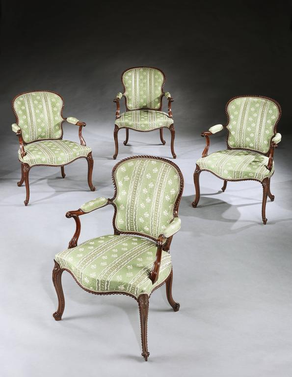 Magnificent Set of Four George III Mahogany Armchairs For Sale 1