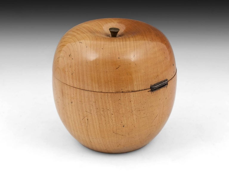 German Antique Treen Apple Fruit Tea Caddy with Button Stalk, 19th Century For Sale