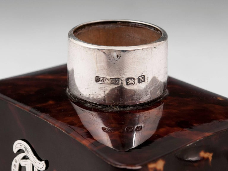 Tortoiseshell Tea Canister with Sterling Silver Lid and