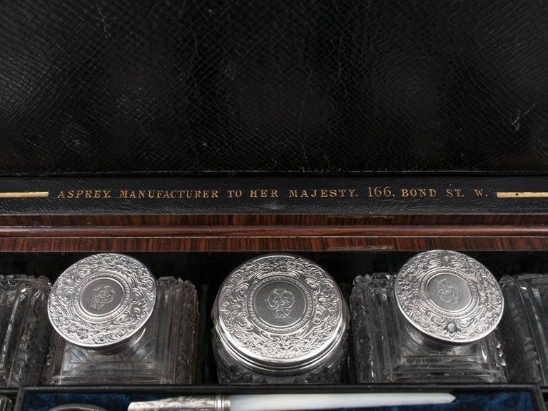 Asprey Antique Sterling Silver Vanity Dressing Box, 19th Century In Good Condition For Sale In Northampton, United Kingdom