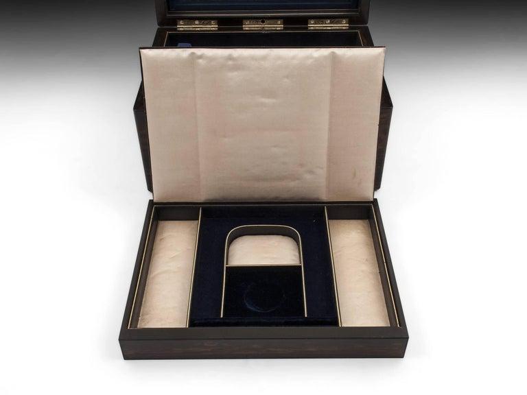 Antique coromandel jewelry box with engraved initial plate for Jewelry box with initials