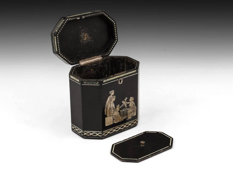 18th Century Papier Mâché Octagonal Tea Caddy by Henry Clay For Sale 1