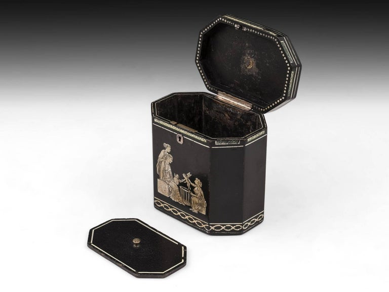 18th Century and Earlier 18th Century Papier Mâché Octagonal Tea Caddy by Henry Clay For Sale