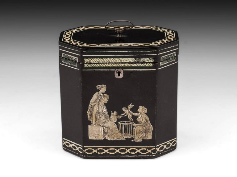 18th Century Papier Mâché Octagonal Tea Caddy by Henry Clay For Sale 3