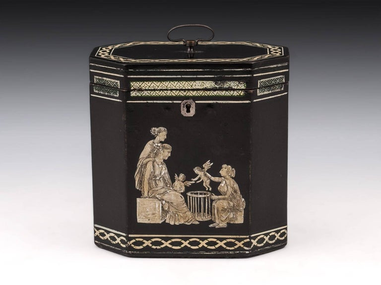 18th Century Papier Mâché Octagonal Tea Caddy by Henry Clay For Sale 4