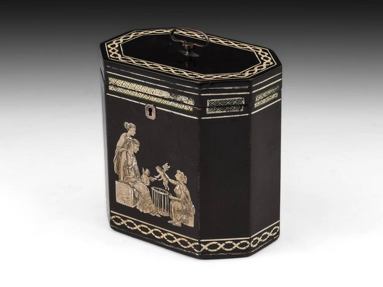 George III 18th Century Papier Mâché Octagonal Tea Caddy by Henry Clay For Sale