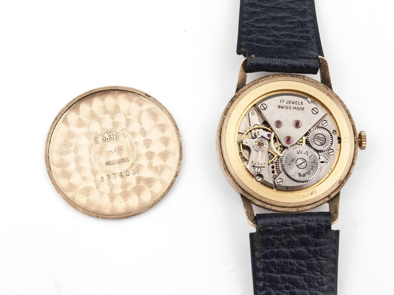 Waltham 9 Carat Gold Wristwatch with Leather Strap, 20th Century 7